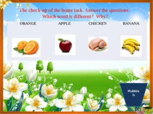 The check-up of the home task. Answer the questions: Which word is different?
