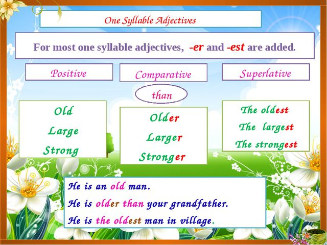 One Syllable Adjectives Positive Comparative Superlative For most one syllabl...