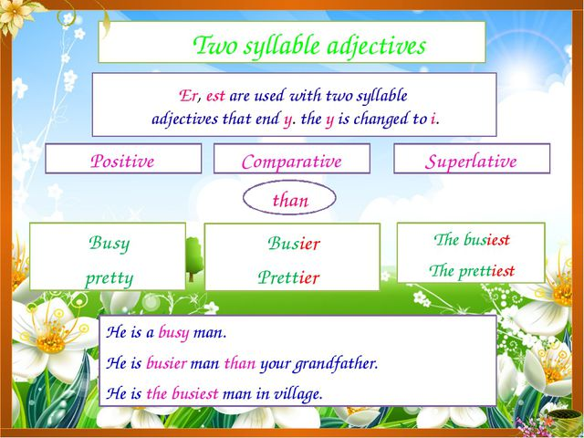 Two syllable adjectives Positive Comparative Superlative Er, est are used wi...