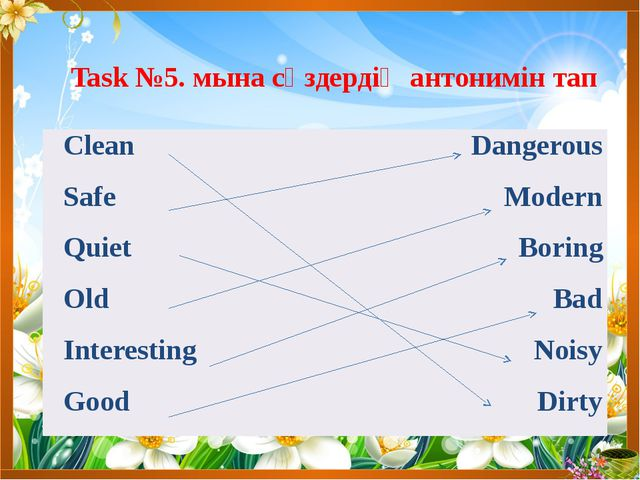 Task №5. мына сөздердің антонимін тап Clean Dangerous Safe Modern Quiet Borin...