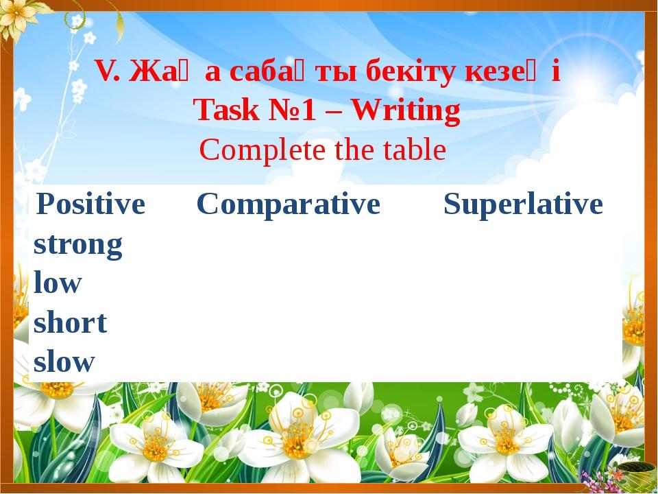 V. Жаңа сабақты бекіту кезеңі Task №1 – Writing Complete the table Positive C...