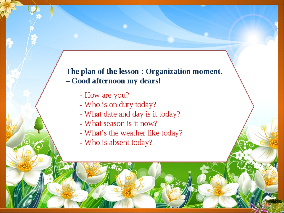 The plan of the lesson : Organization moment. – Good afternoon my dears! - Ho...