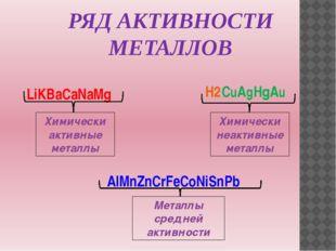 LiKBaCaNaMg AlMnZnCrFeCoNiSnPb H2 CuAgHgAu Химически активные металлы Химичес