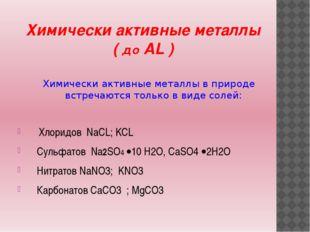 Химически активные металлы ( до AL ) Химически активные металлы в природе вст