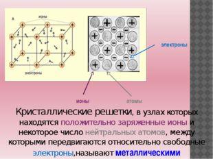 Кристаллические решетки, в узлах которых находятся положительно заряженные ио