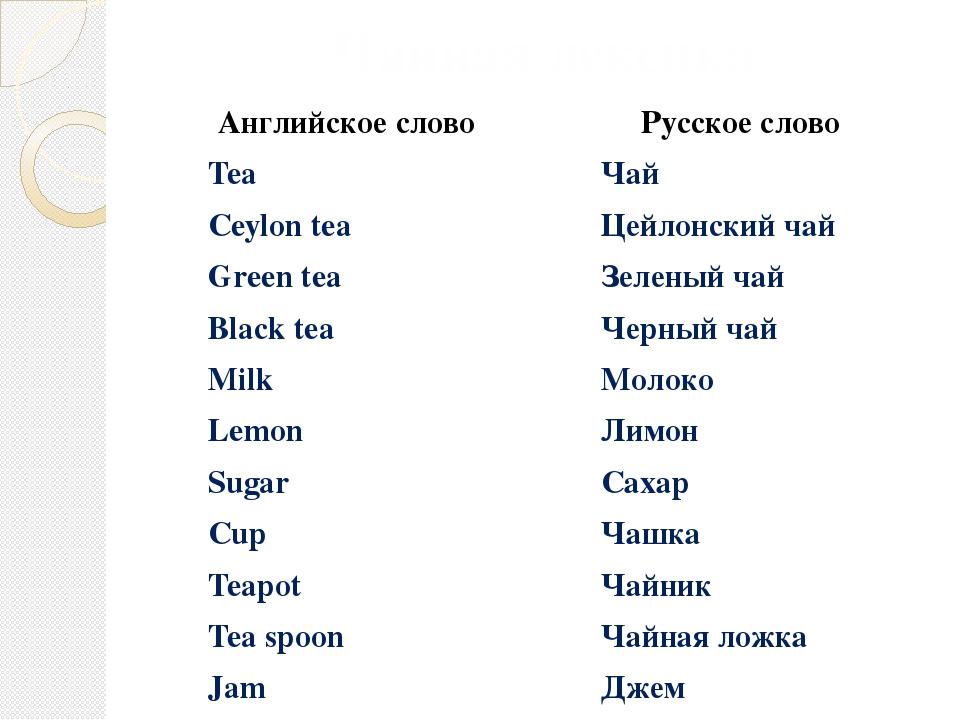 Чайная лексика Английское слово Русское слово Tea Чай Ceylon tea Цейлонский ч...