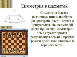 Симметрия в шахматах Симметрия бывает различных типов; наиболее распростране