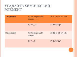 УГАДАЙТЕ ХИМИЧЕСКИЙ ЭЛЕМЕНТ 1 вариантА) 3-й период III группа ____Б) 20 р+,