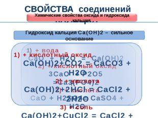 СВОЙСТВА соединений КАЛЬЦИЯ Химические свойства оксида и гидроксида кальция