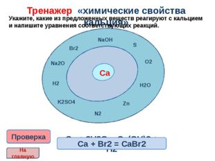 Тренажер «химические свойства кальция» Укажите, какие из предложенных вещест