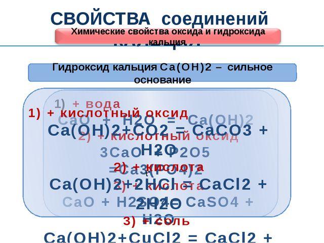 СВОЙСТВА соединений КАЛЬЦИЯ Химические свойства оксида и гидроксида кальция...