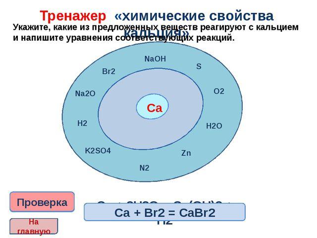 Тренажер «химические свойства кальция» Укажите, какие из предложенных вещест...