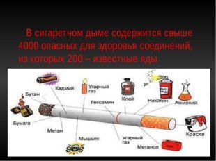 В сигаретном дыме содержится свыше 4000 опасных для здоровья соединений, из