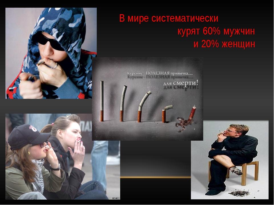 В мире систематически курят 60% мужчин и 20% женщин