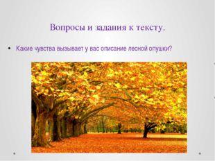Вопросы и задания к тексту. Какие чувства вызывает у вас описание лесной опуш
