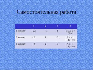 Самостоятельная работа 1234 1 вариант - 2,5- 110 ≤ Х ≤ 4 [0;4] 2 вари
