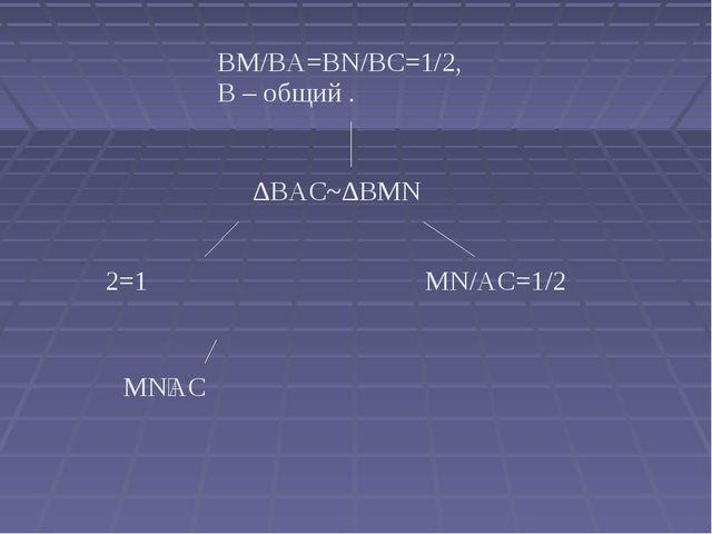 BM/BA=BN/BC=1/2, ےB – общий . ∆BAC~∆BMN ے1=ے2 MN/AC=1/2 MN׀׀AC