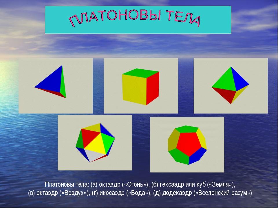 Платоновы тела: (а) октаэдр («Огонь»), (б) гексаэдр или куб («Земля»), (в) ок...