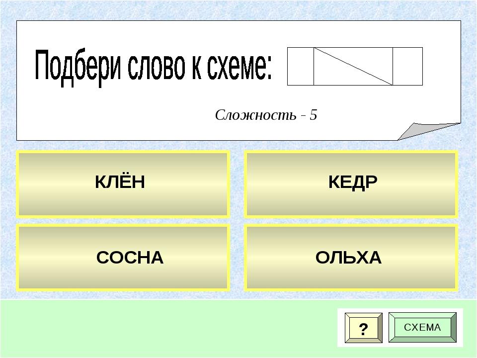 ? СХЕМА Сложность - 5 КЛЁН КЕДР ОЛЬХА СОСНА