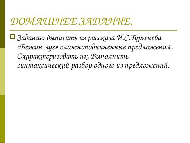 ДОМАШНЕЕ ЗАДАНИЕ. Задание: выписать из рассказа И.С.Тургенева «Бежин луг» сло...