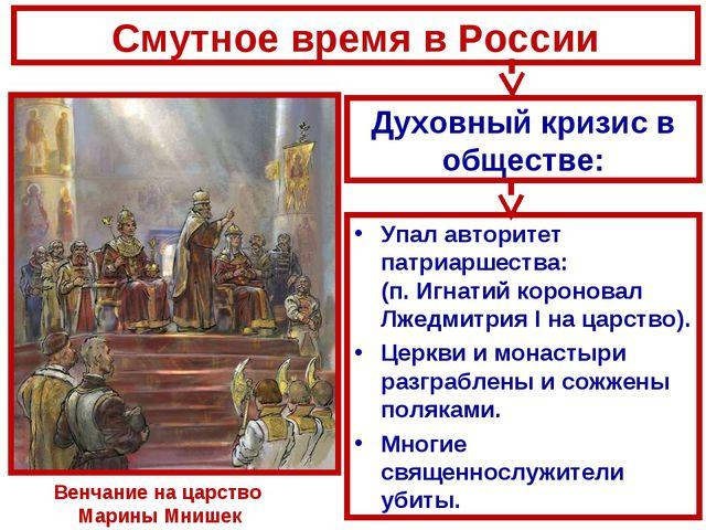 Смутное время в России Упал авторитет патриаршества: (п. Игнатий короновал Лж...