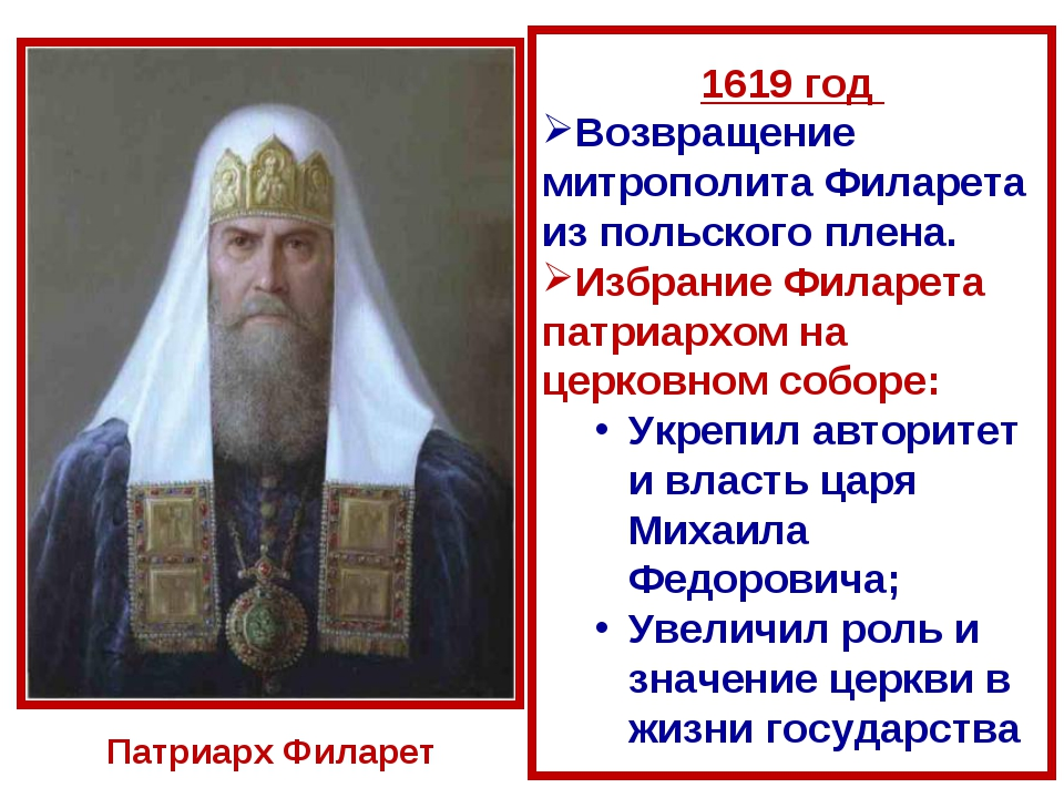 1619 год Возвращение митрополита Филарета из польского плена. Избрание Филаре...