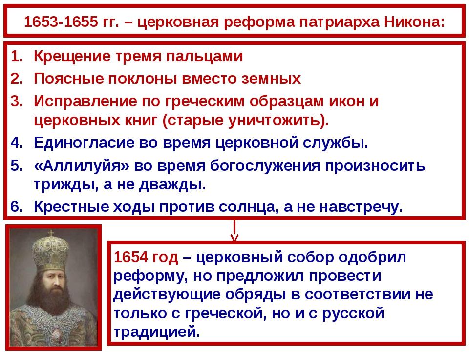 1653-1655 гг. – церковная реформа патриарха Никона: Крещение тремя пальцами П...