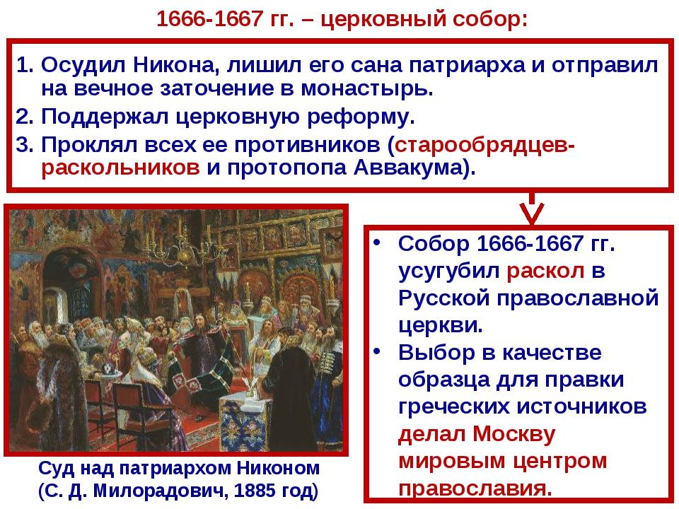 Суд над патриархом Никоном (С.Д.Милорадович, 1885 год) Осудил Никона, лишил...
