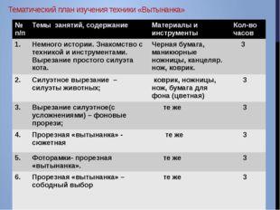 Тематический план изучения техники «Вытынанка» № п/п Темы занятий, содержание