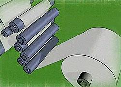 Описание: Сматывание бумаги в рулоны