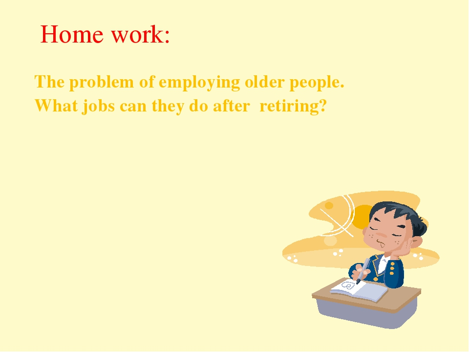 The problem of employing older people. What jobs can they do after retiring?...