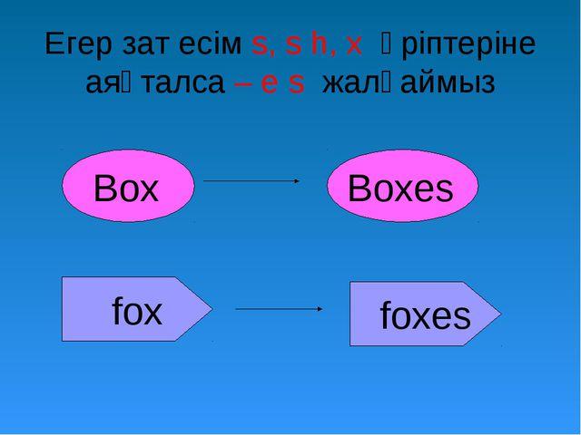 Егер зат есім s, s h, x әріптеріне аяқталса – e s жалғаймыз Box Boxes fox foxes