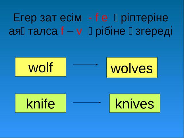 Егер зат есім - f e әріптеріне аяқталса f – v әрібіне өзгереді wolf wolves kn...