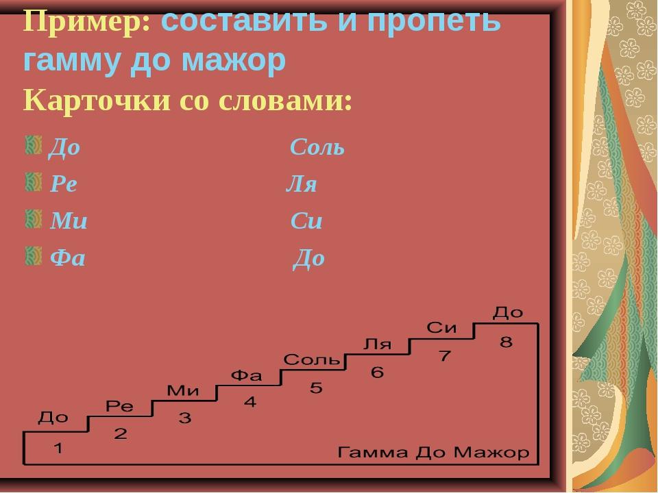 Пример: составить и пропеть гамму до мажор Карточки со словами: До Соль Ре Ля...