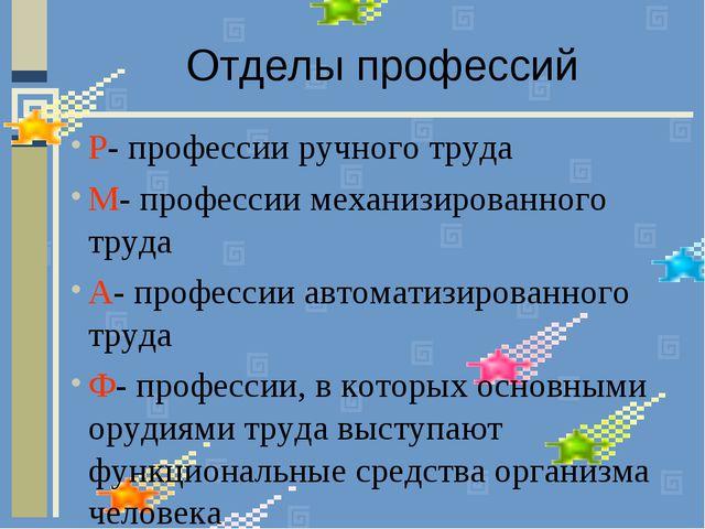 Отделы профессий Р- профессии ручного труда М- профессии механизированного тр...