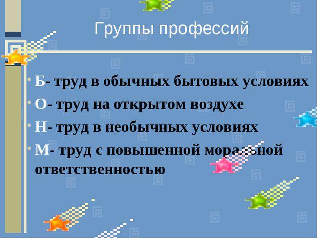 Группы профессий Б- труд в обычных бытовых условиях О- труд на открытом возду...