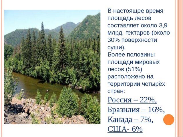 В настоящее время площадь лесов составляет около 3,9 млрд. гектаров (около 30...