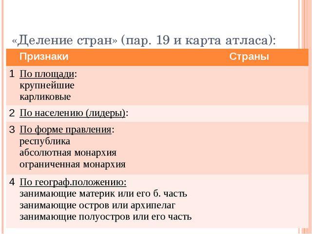 «Деление стран» (пар. 19 и карта атласа): Признаки Страны 1 По площади: крупн...