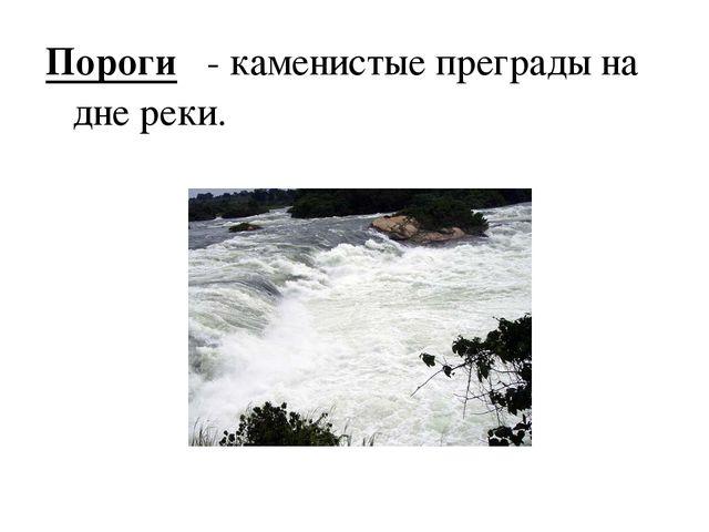 Пороги - каменистые преграды на дне реки.