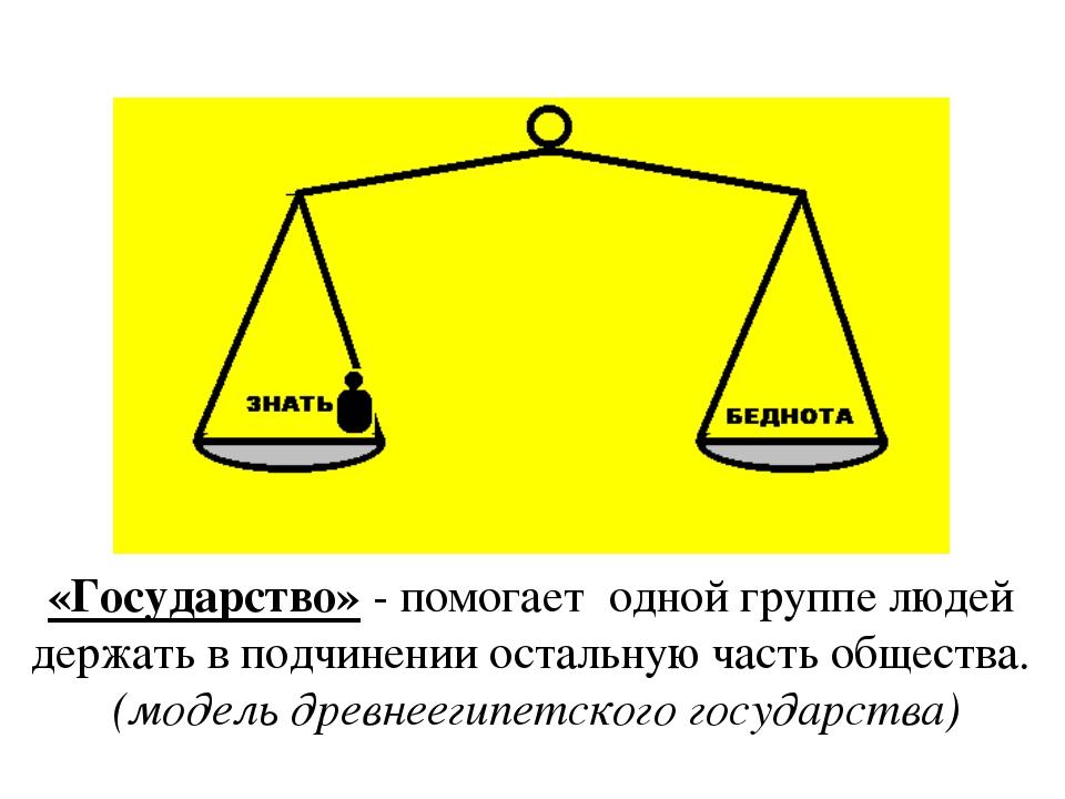 «Государство» - помогает одной группе людей держать в подчинении остальную ча...