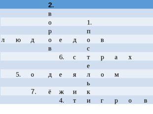 2. в о 1. р п 3. л ю д о е д о в в с 6. с т р а х е 5. о д е я л о м ь 7. ё
