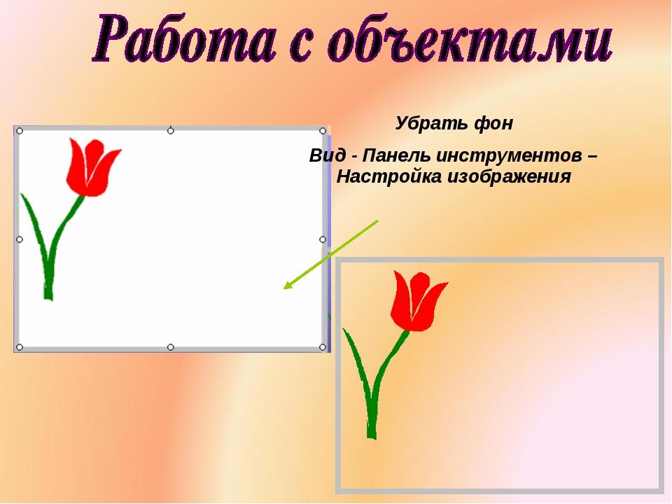 Убрать фон Вид - Панель инструментов – Настройка изображения