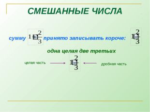 сумму  принято записывать короче:  одна целая две третьих СМЕШАННЫЕ ЧИСЛА ц