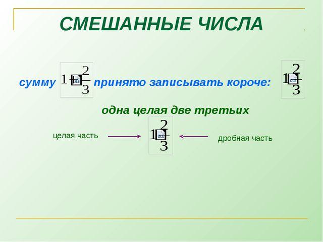 сумму  принято записывать короче:  одна целая две третьих СМЕШАННЫЕ ЧИСЛА ц...