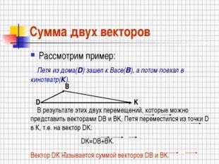 Сумма двух векторов Рассмотрим пример: Петя из дома(D) зашел к Васе(B), а пот