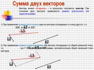 Сумма двух векторов Векторы можно складывать – в результате получается вектор