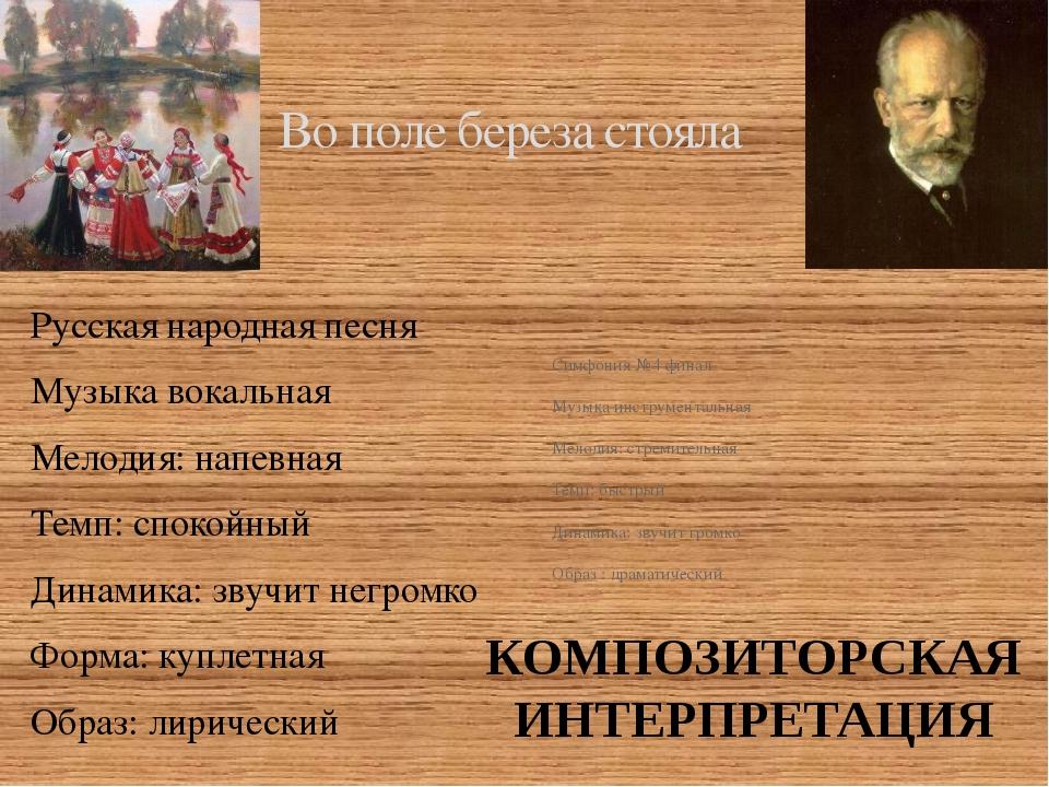 Во поле береза стояла Русская народная песня Музыка вокальная Мелодия: напевн...