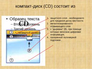 компакт-диск (CD) состоит из защитного слоя , необходимого для придания диску