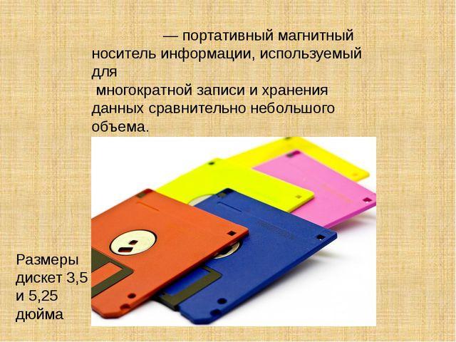 Диске́та — портативный магнитный носитель информации, используемый для многок...
