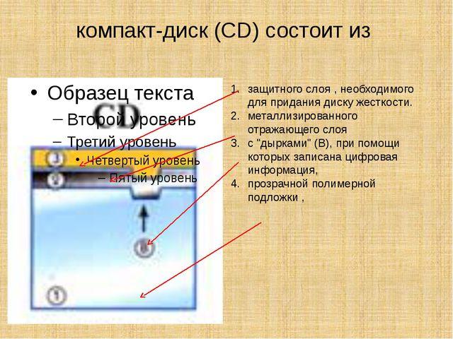 компакт-диск (CD) состоит из защитного слоя , необходимого для придания диску...
